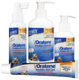Oratene Brushless Oral Care for Pets.  Line of brushless products for pet dental health care. Safe to use on Dogs and Cats.