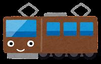 電車のキャラクターのイラスト(茶色)