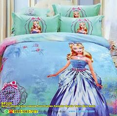 Sprei Custom Katun Jepang Panel Kartun Karakter Barbie Tosca Biru Anak
