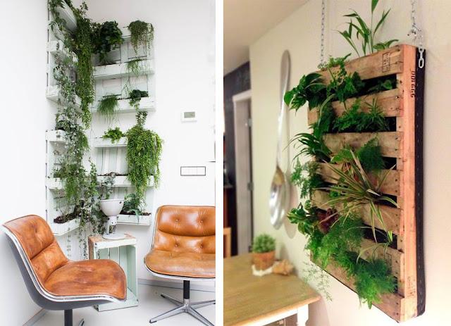 La fabrique d co un mur v g tal le jardin vertical en int rieur - Mur vegetal avec palette en bois ...