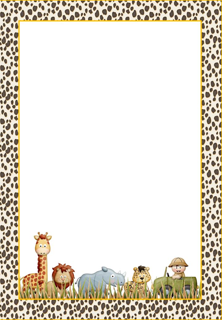Jungle Babies Free Printable Frames Invitations Cards