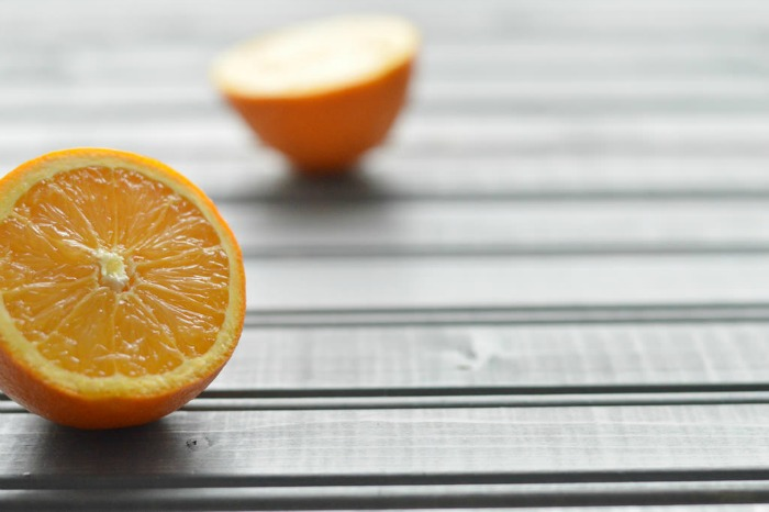 cut oranges in the morning light