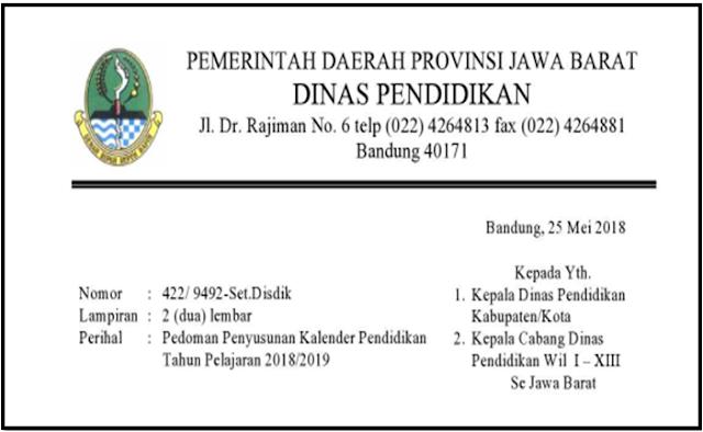 Kaldik SD SMP SMA SMK dan SLB Provinsi Jawa Barat Tahun Pelajaran 2018/2019