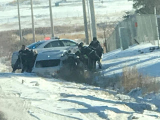 A crash in Nisku on Monday, Nov. 6, 2017 that ended with five naked people in police custody began with a kidnapping, RCMP said.Dustin Horutko/Supplied