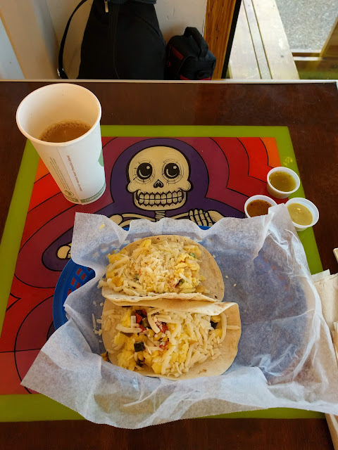 Breakfast tacos and coffee at Tacodeli in Austin, Texas