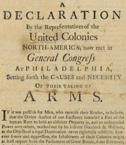 Image result for Declaration of the Causes and Necessity of Taking Up Arms