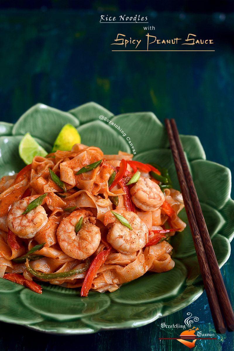 Asian Rice Noodles in Peanut Butter Sauce