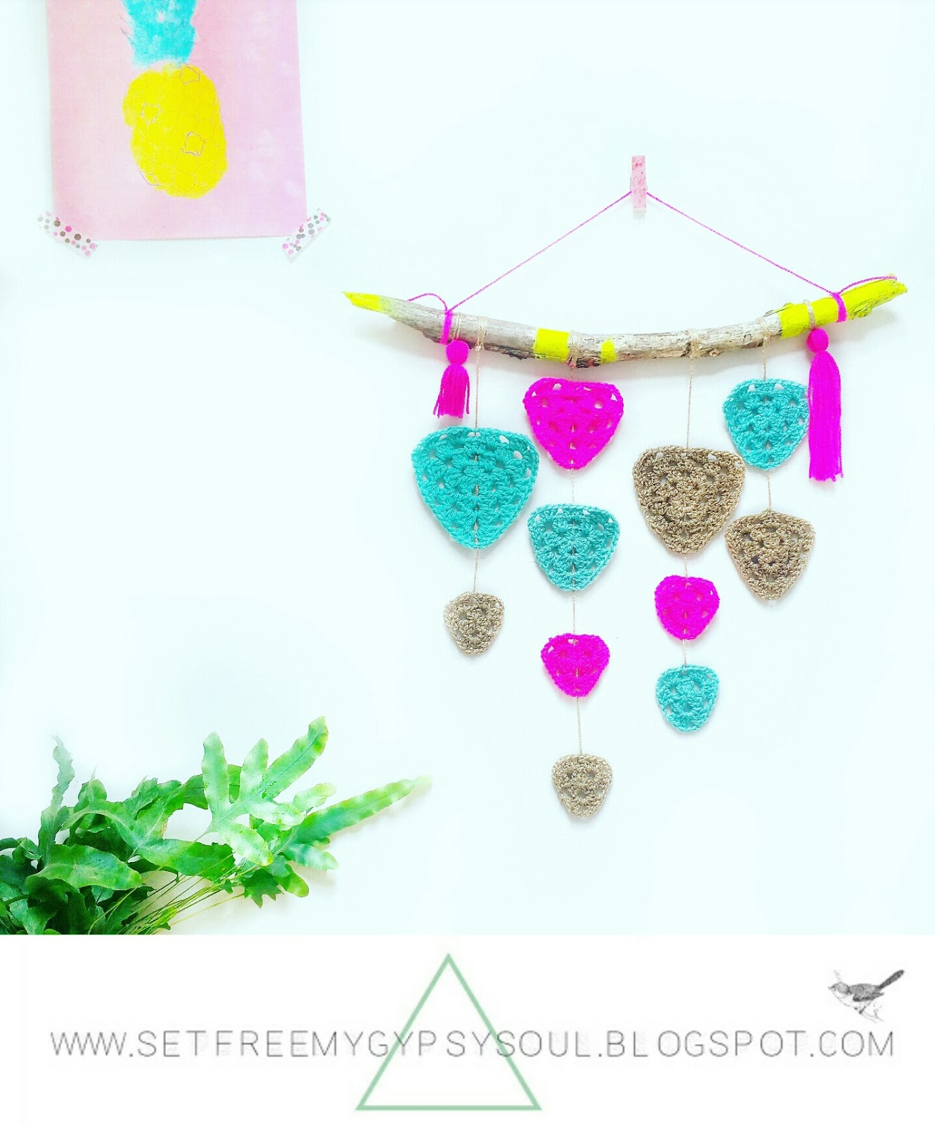 diy wall art hanging bohemian crochet yarn macrame