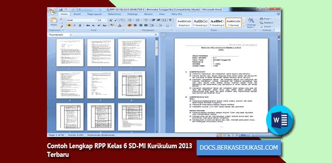 Contoh Lengkap RPP Kelas 6 SD-MI Kurikulum 2013 Terbaru