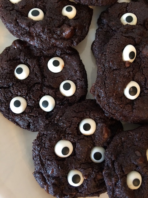Close-up of baked spooky double chocolate eyeball cookies.