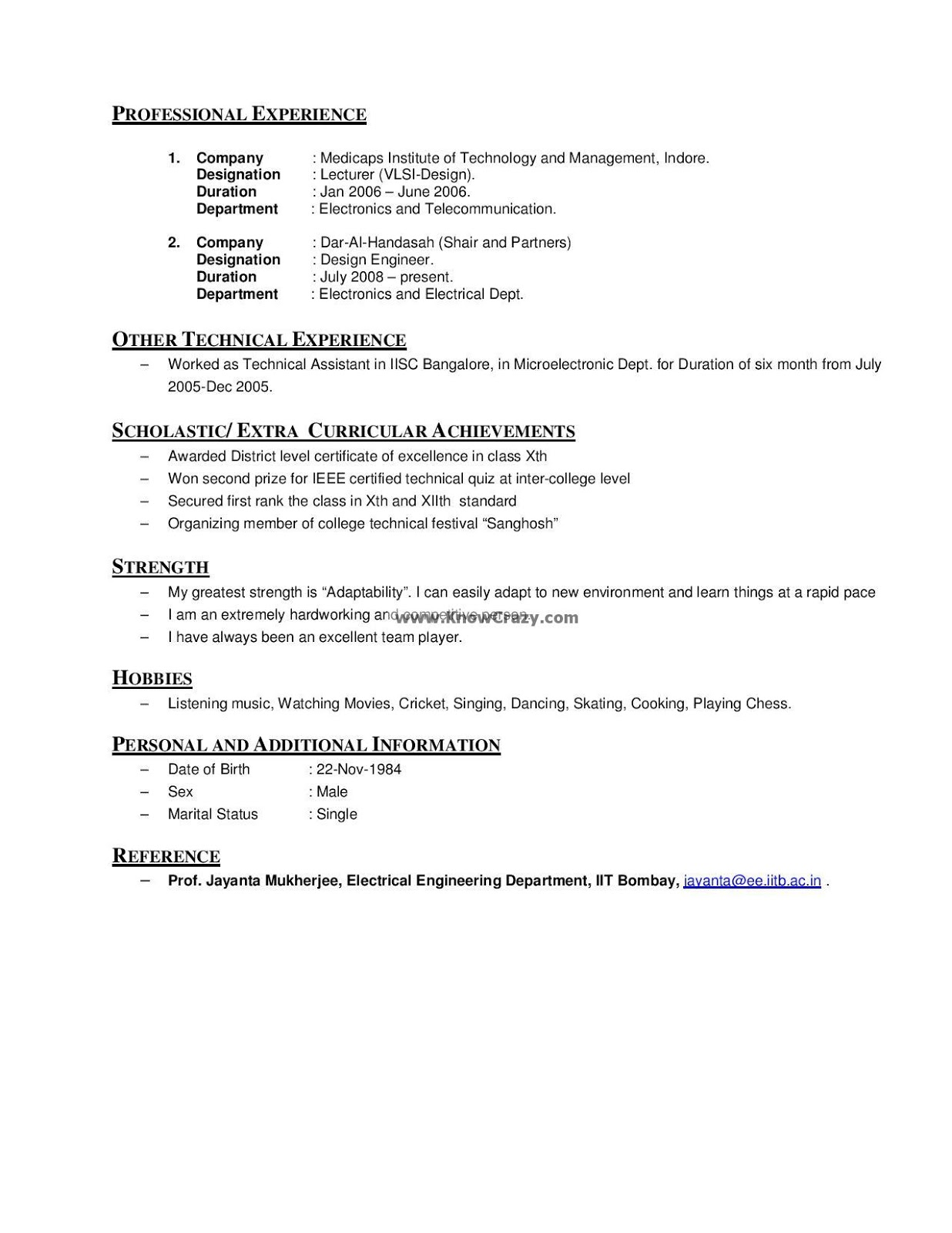 Personal Interests On A Resume Knowcrazy 10 27 12