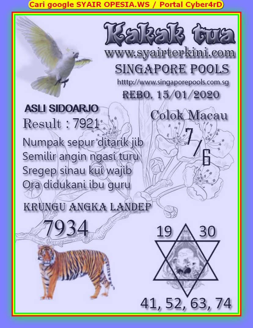 Kode syair Singapore Rabu 15 Januari 2020 74