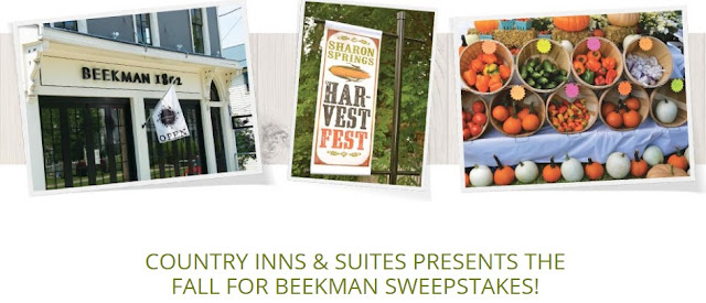 Country Inns & Suites wants you to enter daily for a chance to win a great vacation to New York to take part in the Sharon Springs Fall Festival! Other prizes include free hotel stays and more!