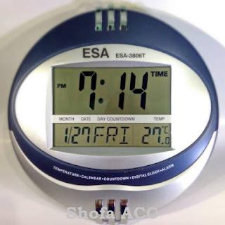 Jam Dinding & Meja Digital Esa Bulat + Alarm + Tanggal + Hari + Temperature