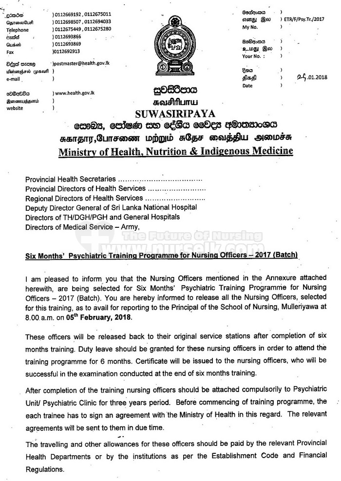 Six Months Psychiatric Training Programme For Nursing Officers