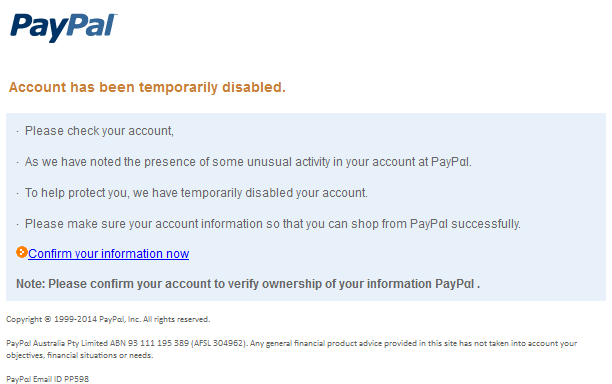 phishing mail alerts paypal account has been temporarily disabled. Black Bedroom Furniture Sets. Home Design Ideas