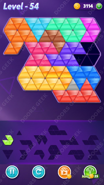 Block! Triangle Puzzle Champion Level 54 Solution, Cheats, Walkthrough for Android, iPhone, iPad and iPod