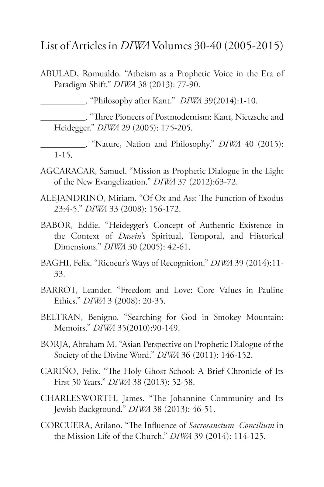 Diwa studies in philosophy and theology thursday may 12 2016 hexwebz Choice Image