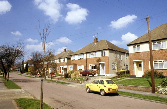 Photograph of Westland Drive, Brookmans Park taken in the 1980s - image from the NMLHS