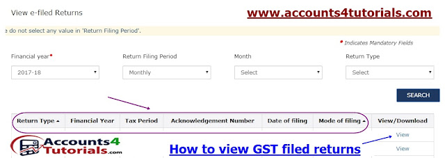 view filed gst returns with return date_acknowledgment number_filing date_month