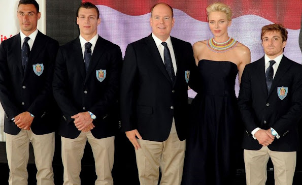 Prince Albert and Princess Charlene of Monaco at a meeting with Olympics athletes at 2016 Rio de Janeiro Summer Olympics