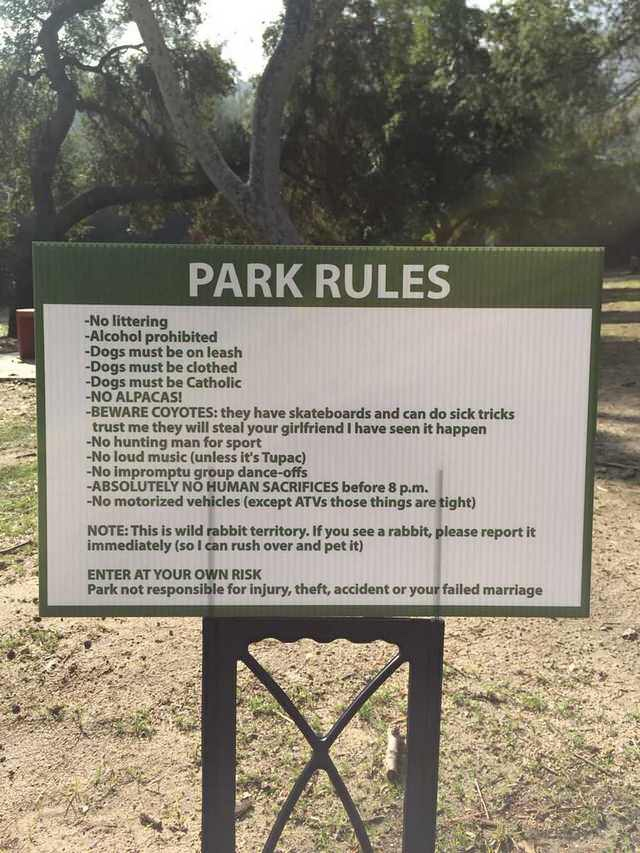 Funny Park Rules Sign Picture