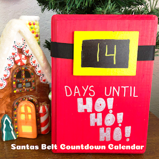Countdown to Christmas with this super easy Santa's belt countdown calendar. For those of us who don't have a cutting machine, this is quick and easy to make and still looks awesome.