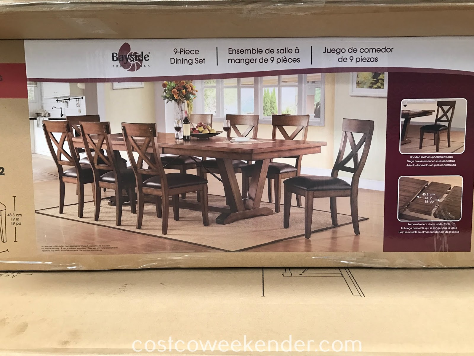 Costco 1119053 - Bayside Furnishings Dining Set provides plenty of seating for you and your family