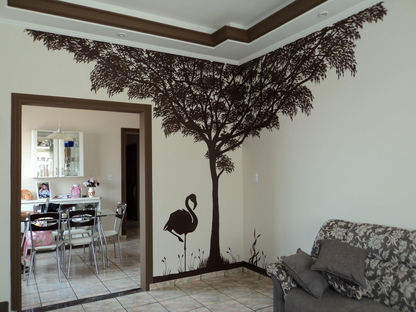 Artes...: árvore pintada na parede