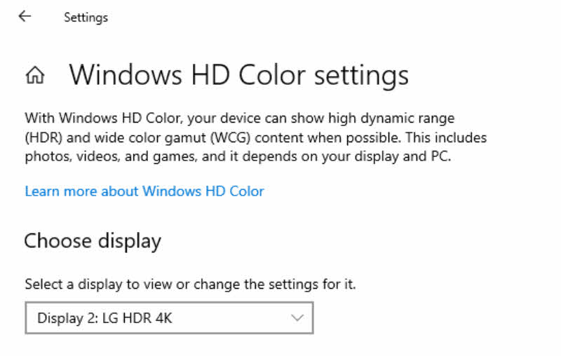 Windows HD Color settings in Windows 10 Insider Preview Build 17711