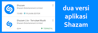 dua versi aplikasi shazam android