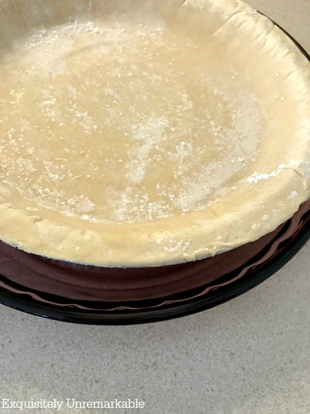 Frozen Pie Crusts in a glass pie dish