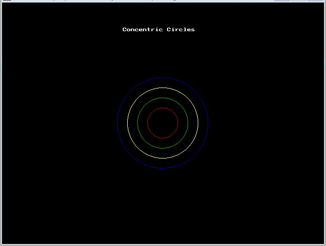 C graphics program to draw concentric circles