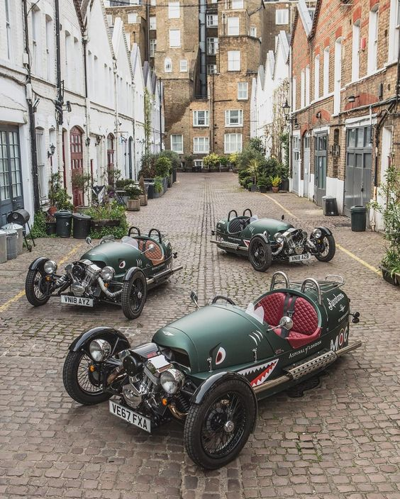 A squadron of Sharktooth Morgan Three Wheelers