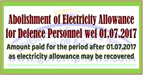 PCDA Circular: Abolishment of Electricity Allowance for Defence personnel