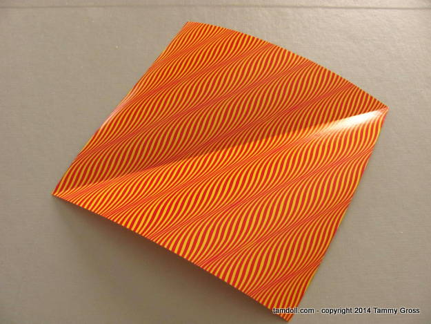 folded paper, right side up