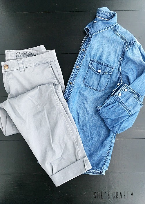 How to style clothes for moms with Pinterest - gray pants and chambray shirt
