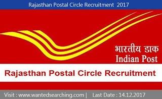 Rajasthan Postal Circle Recruitment  2017 , 57 vacancies Notification for Multi Tasking Staff | Last Date : 14.12.2017