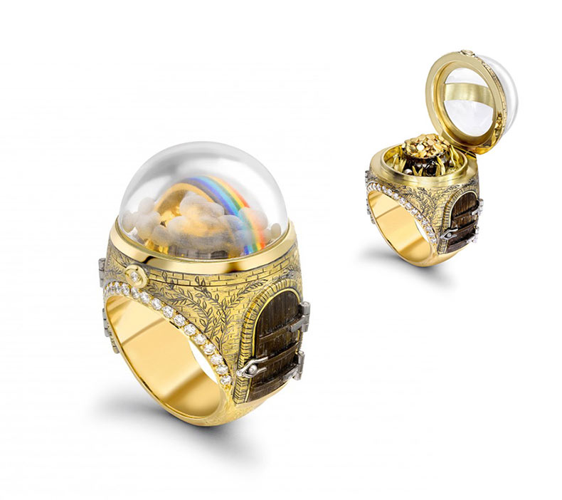 Maravillosos anillos con mundos de cuento de hadas ocultos
