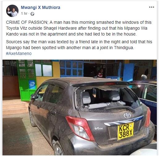 Drama%2BRuaka - DRAMA in Kiambu as man smashes the windows of his mpango wa kando's Toyota Vitz after finding out she is cheating on him (PHOTO)