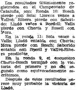 Nota en Mundo Deportivo sobre el XIX Campeonato Individual de Cataluña 1950/51