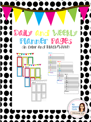 my speech tools planner pages freebie