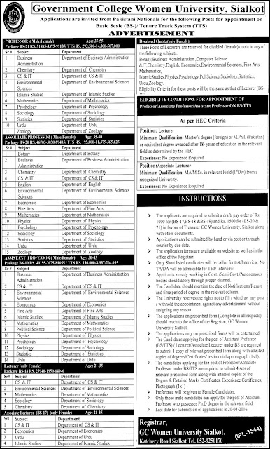 Lecturers and Teaching Faculty Jobs in GC Women University Sialkot