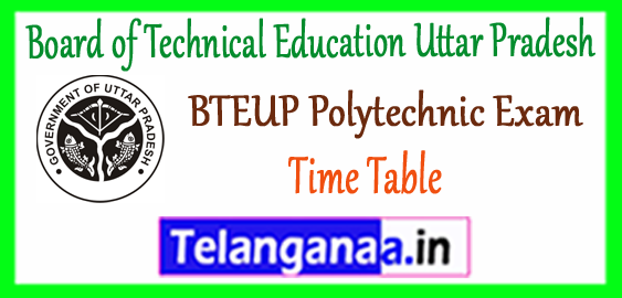 BTEUP Board of Technical Education Uttar Pradesh Polytechnic Exam 1st 2nd 3rd Time Table 2018