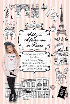 Paris Party Personalized invitation with photo