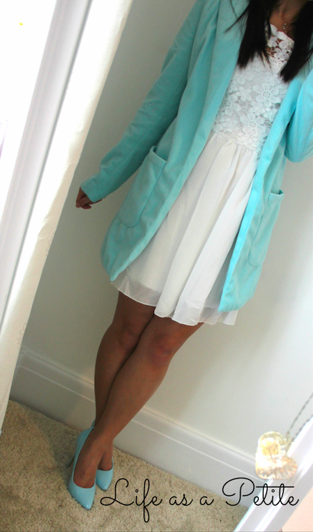 Bargain Mint Green Coat and White Dress - Life as a Petite