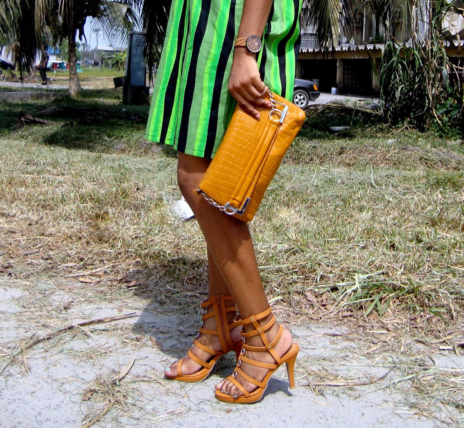 brown sandal/gladiator heels and brown bag, cedar