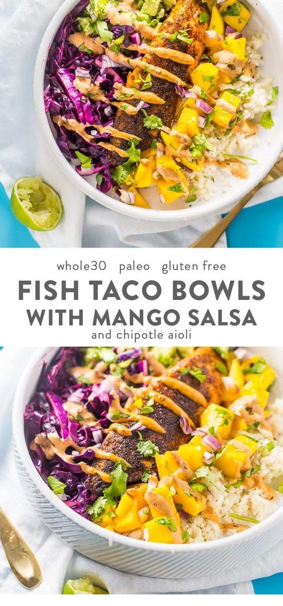 Whole30 Fish Taco Bowls With Mango Salsa, Chipotle Aioli, Coconut-Lime Cauliflower Rice