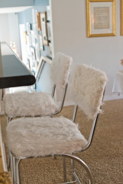fur covered bar stools