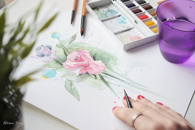 Ilustración con acuarela dibujado a mano